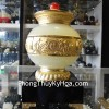 Bình ngọc nắp vàng đế gỗ A247