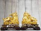 Cặp tỳ hưu vàng trên kim nguyên bảo LN054