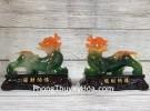 Cặp tỳ hưu ngọc đa sắc trên đế gỗ LN063
