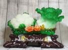 Bắp cải và hoa cải xanh trên bụi mẫu đơn lưu ly đế gỗ lớn LN070