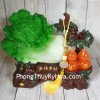 Bắp cải xanh lớn bên cây hồ lô hồng đế gỗ LN072