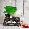 Bắp cải xanh ngọc trên đế gỗ tỳ hưu kéo bao tiền LN082