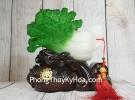 Bắp cải xanh ngọc trên đế gỗ bao nguyên bảo LN083