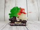 Băp cải xanh ngọc nhỏ trên đế gỗ linh chi và nguyên bảo LN084
