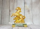 Vua ngựa vàng bóng trên bắp cải vàng tiền vàng đế thuỷ tinh LN135