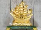 Thuyền buồm vàng bóng lướt sóng thần vàng đế thuỷ tinh LN145