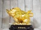Đại vương trâu vàng bóng mão tiền vàng dũng mãnh trên núi đá vàng đế gỗ LN175