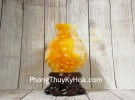 Bình tài lộc cam vàng chạm mẫu đơn đế gỗ LN204