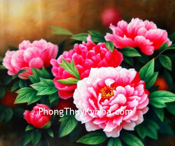 mau don Tranh hoa mẫu đơn trong Phong Thủy