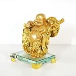 g142a di lac vang quay vang 1 150x150 Phật di lạc vàng vác xâu tiền vàng đế thủy tinh G142A