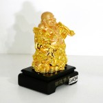 g143a di lac cam nhu y 1 150x150 Phật di lạc vàng đứng gánh như ý xâu tiền đế gỗ G143A