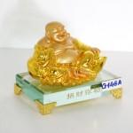 g146a di lac ngoi vang nho 1 150x150 Phật di lạc vàng tay vịn nén vàng lớn đế thủy tinh G146A