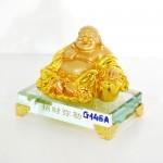 g146a di lac ngoi vang nho 2 150x150 Phật di lạc vàng tay vịn nén vàng lớn đế thủy tinh G146A