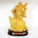g152a di lac tren ho lo 150x150 Phật di lạc vàng cầm cành đào vàng ngồi trên túi vàng lớn G152A