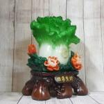 ln068 bap cai xanh mau don 1 150x150 Bắp cải xanh đứng lớn trên vụi mẫu đơn đỏ đế gỗ LN068