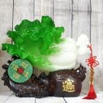 ln077 bap cai tui tien 2 150x150 Bắp cải xanh lớn trến đế gỗ túi tiền có ngọc bội xanh LN077