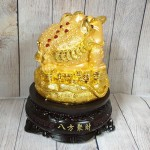 ln090 thiem thu tui vang 150x150 Thiềm thừ vàng trên túi vàng lớn đế gỗ xoay LN090