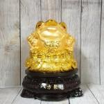 ln090 thiem thu tui vang 2 150x150 Thiềm thừ vàng trên túi vàng lớn đế gỗ xoay LN090