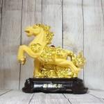 ln127 vua ngua kim sa 150x150 Vua ngựa kim sa vàng bóng trên đá vàng đế gỗ LN127