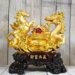 ln129 long ma vang 2 150x150 Song đế ngựa rồng vàng bên bồn tụ bảo vàng hồng ngọc đế gỗ lớn LN129