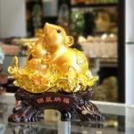 tm002 chuot vang mau don 2 150x150 Chuột vàng trên mẫu đơn ôm hồ lô TM002